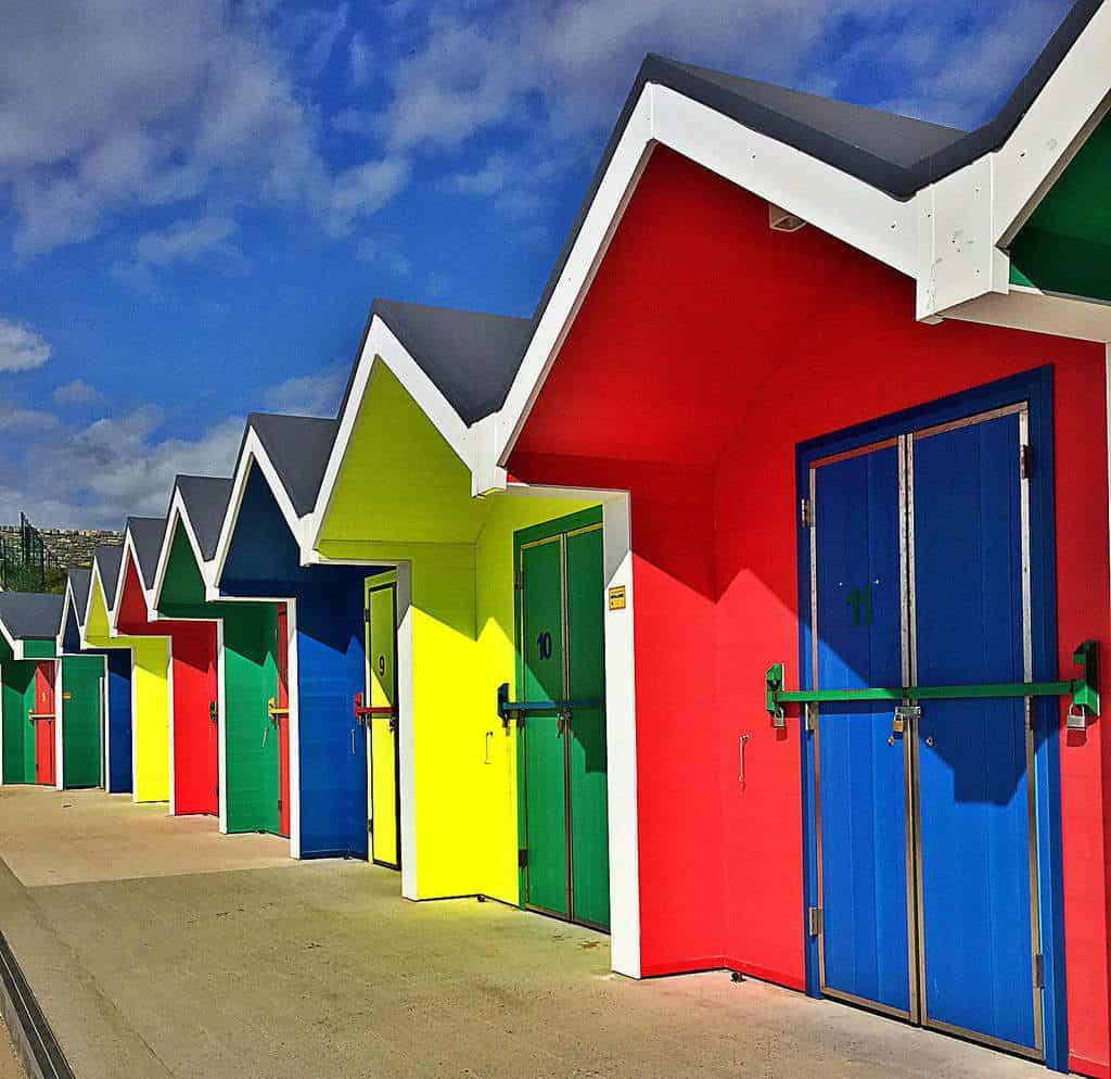 Bath houses in Barry Island, Wales, UK