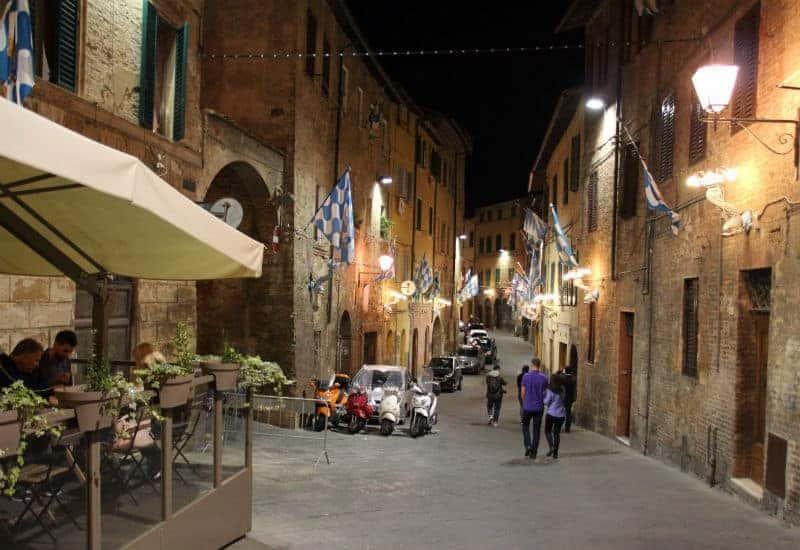 siena street at night italy